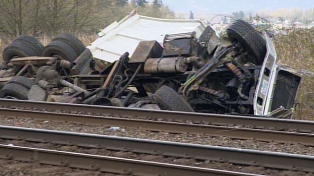 The driver of this truck was airlifted to hospital with serious injuries after it collided Thursday with a train in Langley around 11 a.m. PT.