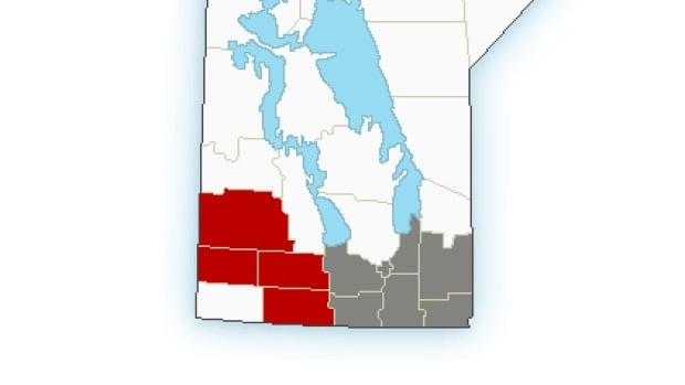 Areas in red are under a snowfall warning and those areas in grey are under a special weather statement about the potential for snow.