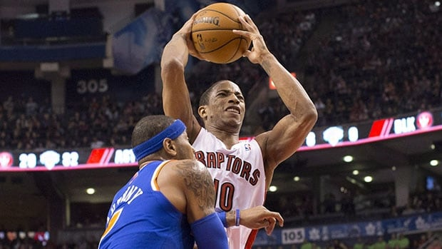 DeMar DeRozan, right, and the Raptors hope to take advantage of a banged-up Carmelo Anthony when they face the Knicks.