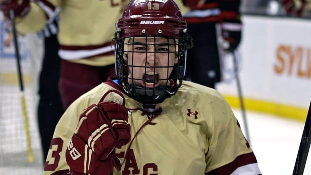 Boston College forward Johnny Gaudreau was pumped on Friday. He not only won the Hobey Baker Award as the top American college hockey player this season, but also signed an NHL contract with the Calgary Flames.