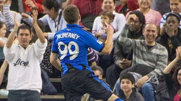 Montreal Impact's Jack McInerney celebrates his goal during first half MLS soccer action against the the Chicago Fire in Montreal, Saturday.