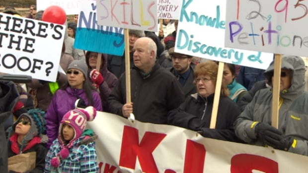 Nearly 200 protesters gathered outside of the Alberta Legislature Saturday to fight for a return to basics-first math instruction.