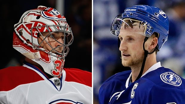 Carey Price, left, and his Montreal Canadiens teammates will open up the Stanley Cup playoffs against Steven Stamkos, right, and the Tampa Bay Lightning on Hockey Night in Canada on Wednesday.