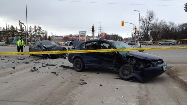 At least two vehicles collided on Bishop Grandin Boulevard and St. Anne's Road on Sunday afternoon. The intersection is closed to traffic.