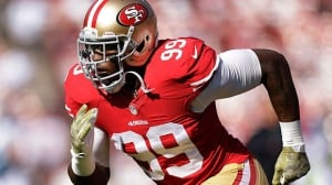 49ers linebacker Aldon Smith was arrested Sunday at Los Angeles International Airport after authorities said he became belligerent during a security screening and threatened that he had a bomb.