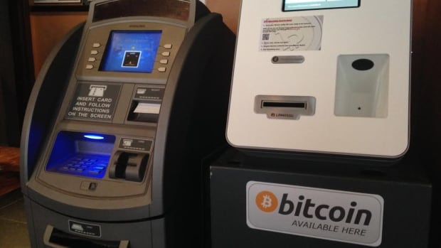 This bitcoin machine is now installed at Dirty Nelly's, next to a traditional automated banking machine.
