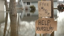 Kemptville flooding high water homes flooded free water sign Sunday April 13
