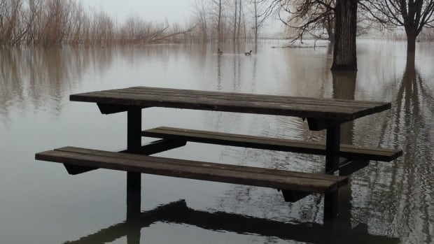 Flood waters are already evident in Laval's waterside parks, but residents have yet to be affected by high waters.