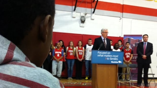 Premier Greg Selinger announces a new gymnasium for Kelvin High School on Monday.