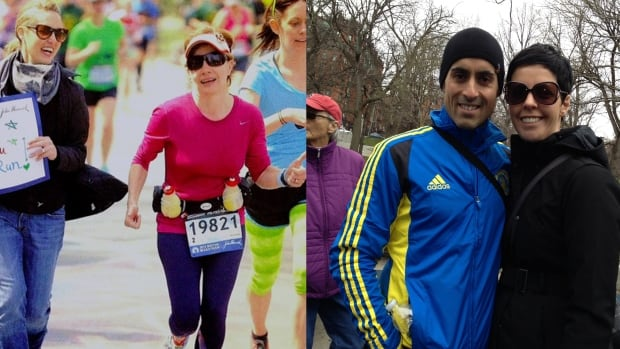 Joyce Bridgman (in pink) and Nelson Fernandes (right, pictured with his wife) photographed at the Boston Marathon last year.