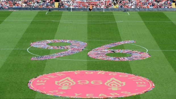 The figure 96, made up of fans scarves, fills the centre circle before the Hillsborough 25th anniversary memorial service at Anfield Stadium in Tuesday.