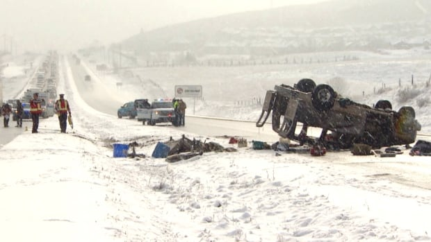 One man was critically injured when his vehicle crashed on the Trans-Canada Highway west of Calgary.
