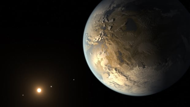 Kepler-186f, seen in this artist's conception, is the first validated Earth-size planet to orbit a distant star in the habitable zone— a  range of distances from a star where liquid water might pool on the surface of an orbiting planet.