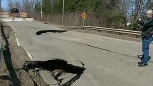 Sinkhole on Route 114, New Brunswick