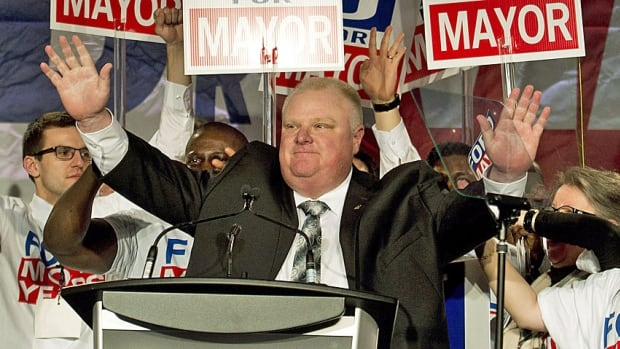 Toronto Mayor Rob Ford reacts as he speaks to his supporters during his campaign launch in Toronto on April 17. The mayor stands a good chance of winning re-election, say political observers, though it's possible challenger Olivia Chow will cause the other candidates to split the centre-right vote.