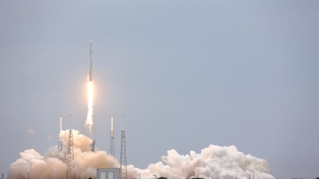 A SpaceX Falcon 9 rocket carrying a Dragon cargo ship lifted off Friday, after a month-long delay. The rocket will deliver research equipment, food and other supplies to the International Space Station.