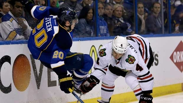 St. Louis Blues forward Alexander Steen, left, was lifted airborne by Chicago defenceman Niklas Hjalmarsson in the first overtime, but came back to exact revenge.