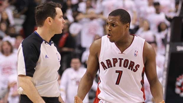 Toronto guard Kyle Lowry, seen talking with an official during Game 1, said the human shot clock proved to be an adjustment.
