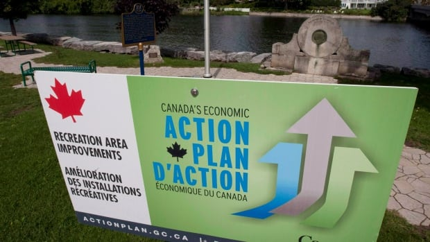 An Economic Action plan sign is pictured in Mississippi Mills, Ont. The Finance Department has ordered its pollsters to stop asking Canadians potentially embarrassing questions about Economic Action Plan advertising.