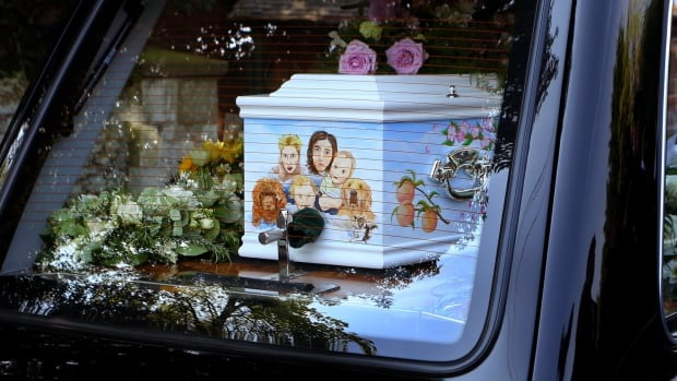 The coffin of late Peaches Geldof is adorned with a painted picture of her, her husband Thomas Cohen, their two young sons Astala, 23 months, and 11-month-old Phaedra, and pet dogs.