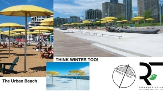 An artist's concept shows what New Westminster's urban beach would look like. A report to New Westminster city council recommends continuing the redevelopment of the waterfront that began with the creation of Westminster Pier Park in 2012.