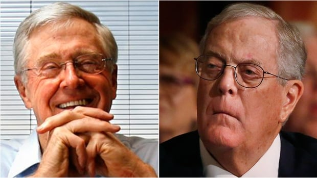 U.S. billionaire brothers Charles G. Koch, left, and David Koch are under fire from Democrats for their political activity and campaign funding.
