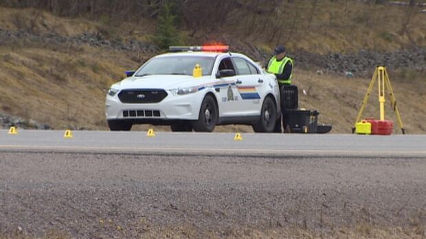 Nova Scotia RCMP were at Highway 104 near Salt Springs, where a pedestrian was hit by a car on Tuesday morning.