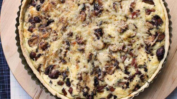 Ham and mushroom tart