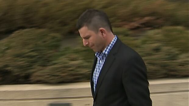 Kieran Porter leaves the Edmonton courthouse on the first day of his trial in April.
