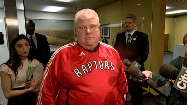 Toronto Mayor Rob Ford, seen speaking with reporters earlier in the day, predicts that the Raptors will tie up their playoff series with the Nets on Tuesday night.