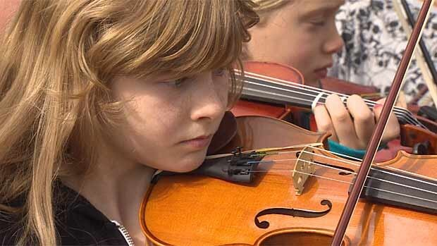 Students from the Vancouver School District music programs turned out to protest possible cuts before the board meeting last month.