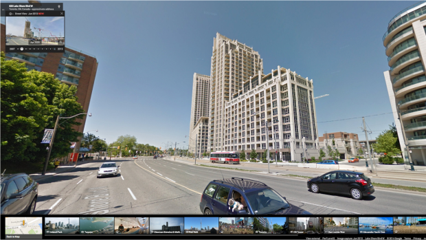On Toronto's Lakeshore Boulevard, Street View users can see how the condo boom has changed the streetscape.