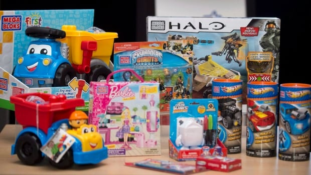 Mega Brands products are shown at the company's annual general meeting on May 2, 2013. Mattel's takeover offer for the Montreal toy maker has been approved by shareholders.