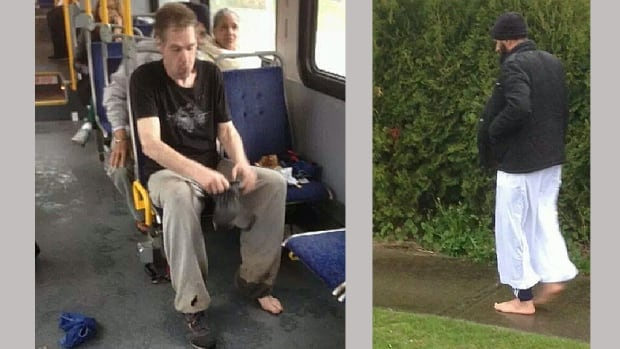 A Good Samaritan, right, got off a bus shoeless after giving his pair of shoes to a barefoot man, left, last Saturday.
