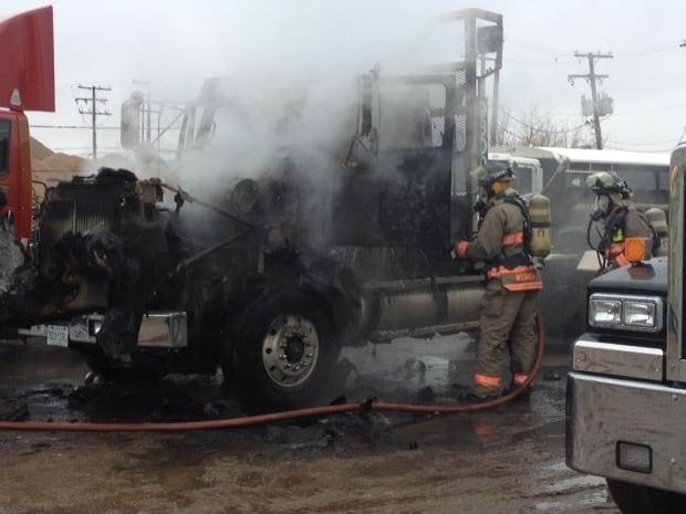 Truck fire Saskatoon