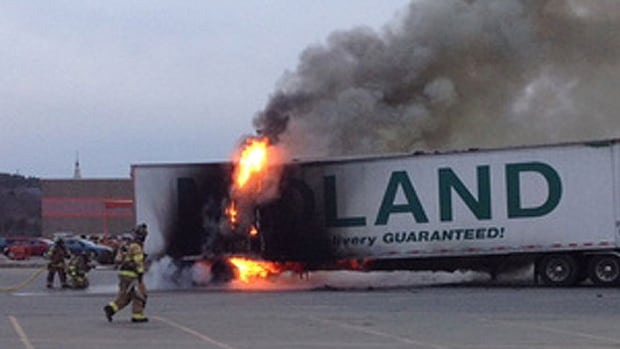 The french fry truck caught fire in Maine on its way to New Jersey.