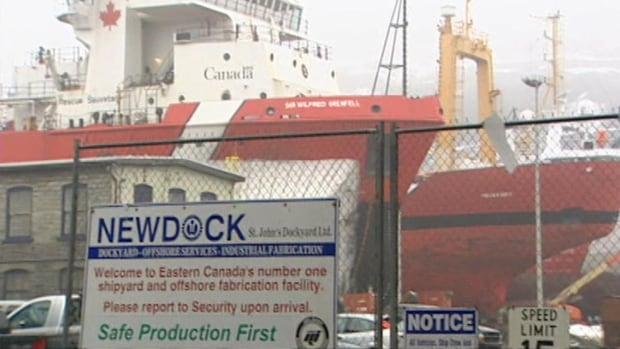 A diver was injured Thursday while working at Newdock, the company that operates the St. John's dockyard, seen here in a file image.