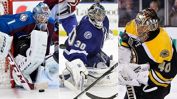 Semyon Varlamov, right, Ben Bishop, centre, and Tuukka Rask were named Vezina Trophy finalists by the 30 NHL general managers.
