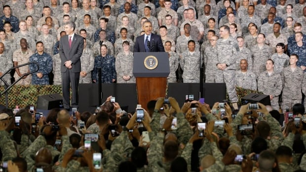 President Barack Obama addresses U.S. military personnel at the American military base Yongsan Garrison in Seoul, South Korea, on Saturday, on the second leg of his four-nation Asian tour.