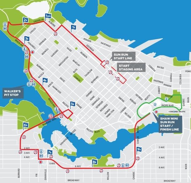 2014 Vancouver Sun Run route