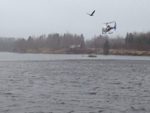 An RCMP helicopter joined the Scoudouc River search.