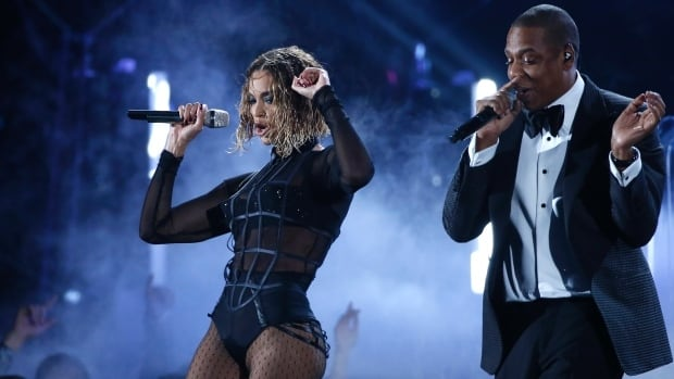 "Beyonce and Jay Z perform ""Drunk In Love"" at the 56th annual Grammy Awards in Los Angeles, Calif. on Jan. 26."
