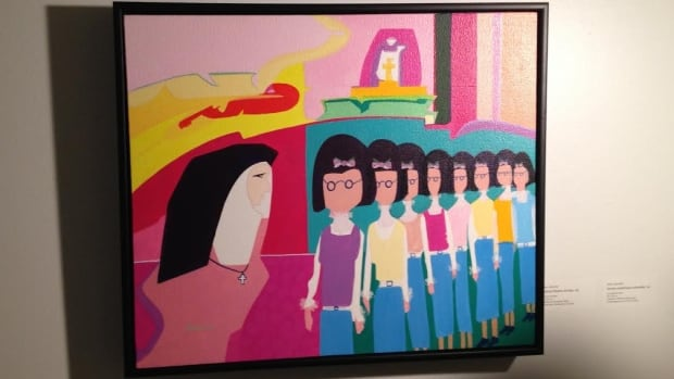 A painting by Alex Janvier depicts girls at a residential school all wearing similar glasses.