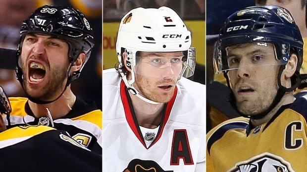 From left, the Bruins' Zdeno Chara, Blackhawks' Duncan Keith and Predators' Shea Weber are in the mix for the Norris Trophy, awarded annually to the NHL's best defenceman. Chara is a finalist for the sixth time.