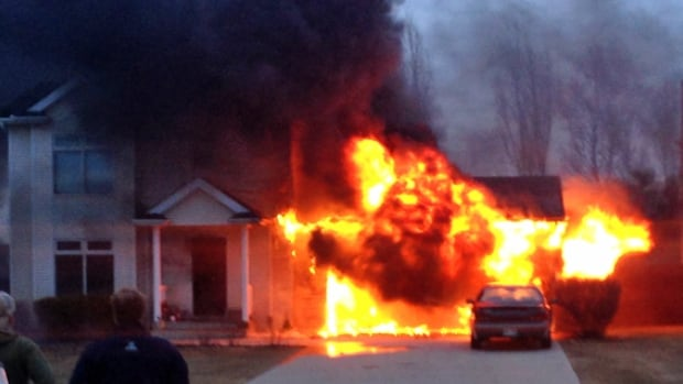 The fire in the Steinbach home began in the garage and spread to the two-story attached home.