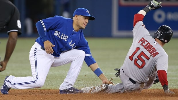Ryan Goins, left, of the Blue Jays tags Dustin Pedroia at second base in last Friday's 7-6 loss to the Red Sox at Rogers Centre.