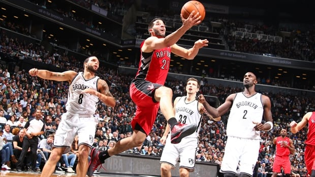 Greivis Vasquez (21) of the Raptors drives to the basket for a layup in Sunday's 87-79 win over the Nets at Barclays Center.
