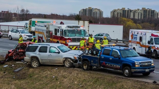 This was the scene on the 403 near the Waterdown exit amid traffic backups Monday evening.