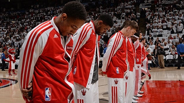 DeMar DeRozan, left, wouldn't reveal exactly what the Raptors will do for their silent protest.