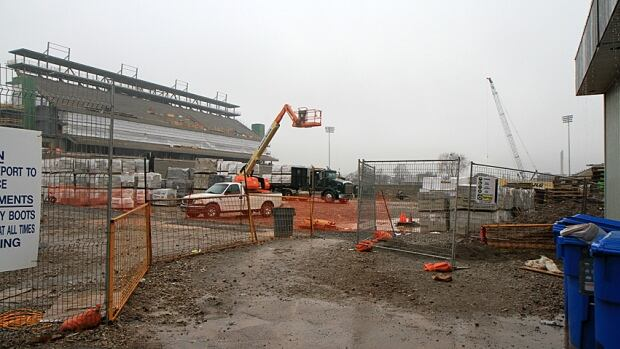 The new Tim Horton's Field is about three weeks behind schedule, but Glenn Gibson of the Hamilton Tiger-Cats won't even talk about what will happen if it's not ready for the first home game.